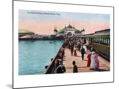 Utah, View of Crowds Arriving at the Saltair Pavilion-Lantern Press-Mounted Art Print