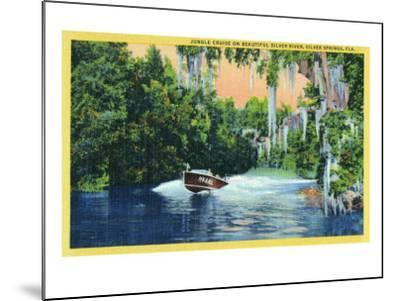 Silver Springs, Florida, View of a Speedboat Cruising the Silver River and Jungle-Lantern Press-Mounted Art Print