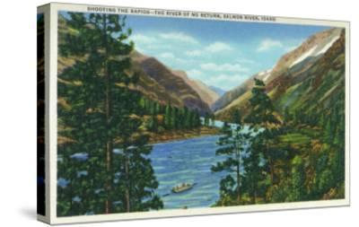 Salmon River, Idaho, View of Rafters Shooting the Rapids, the River of No Return-Lantern Press-Stretched Canvas Print