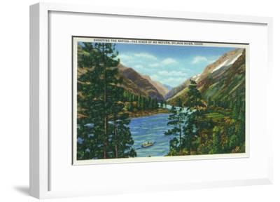 Salmon River, Idaho, View of Rafters Shooting the Rapids, the River of No Return-Lantern Press-Framed Art Print