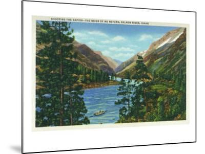 Salmon River, Idaho, View of Rafters Shooting the Rapids, the River of No Return-Lantern Press-Mounted Art Print