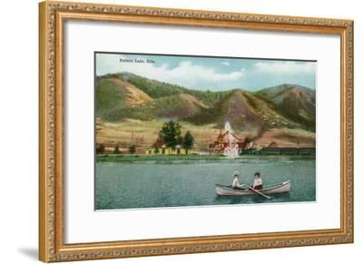 Palmer Lake, Colorado, View of a Couple in a Rowboat on the Lake-Lantern Press-Framed Art Print