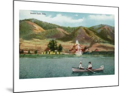 Palmer Lake, Colorado, View of a Couple in a Rowboat on the Lake-Lantern Press-Mounted Art Print