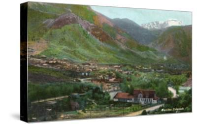 Manitou Springs, Colorado, Aerial View of the Town-Lantern Press-Stretched Canvas Print