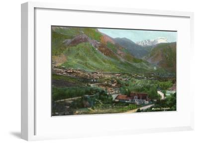 Manitou Springs, Colorado, Aerial View of the Town-Lantern Press-Framed Art Print