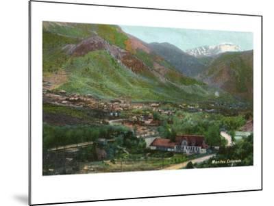 Manitou Springs, Colorado, Aerial View of the Town-Lantern Press-Mounted Art Print