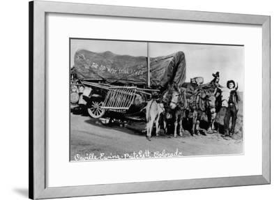 Pritchett, Colorado, View of Orville Ewing with his The Old West Still Lives Wagon-Lantern Press-Framed Art Print