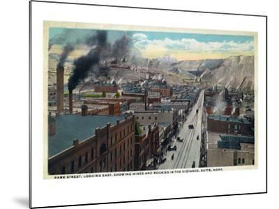 Butte, Montana, Eastern Aerial View of Park Street, Mines and Rockies in Distance-Lantern Press-Mounted Art Print