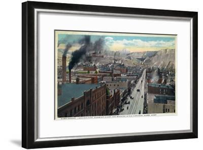 Butte, Montana, Eastern Aerial View of Park Street, Mines and Rockies in Distance-Lantern Press-Framed Art Print