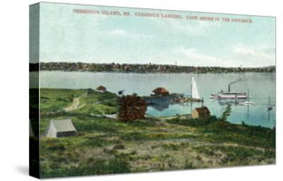 Cushing's Island, Maine, View of Cushing's Landing, Cape Shore in the Distance-Lantern Press-Stretched Canvas Print