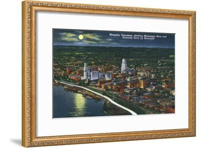 Memphis, TN, Moonlit Aerial View of City with Mississippi River and Riverside Drive-Lantern Press-Framed Art Print