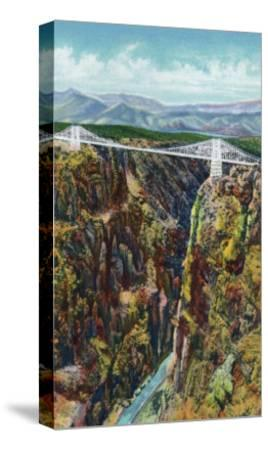 Royal Gorge, Colorado, Aerial View of the Gorge and the Bridge-Lantern Press-Stretched Canvas Print