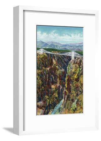 Royal Gorge, Colorado, Aerial View of the Gorge and the Bridge-Lantern Press-Framed Art Print