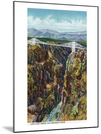 Royal Gorge, Colorado, Aerial View of the Gorge and the Bridge-Lantern Press-Mounted Art Print
