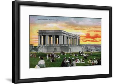Denver, Colorado, View of a Sunset Scene in a Crowded Cheesman Park-Lantern Press-Framed Art Print