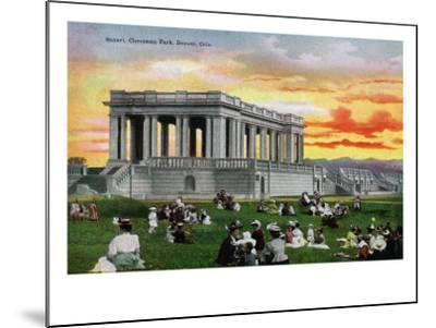 Denver, Colorado, View of a Sunset Scene in a Crowded Cheesman Park-Lantern Press-Mounted Art Print