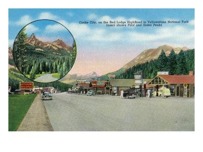 Cooke City, Montana, Red Lodge High Road to Yellowstone Park View of the Town-Lantern Press-Framed Art Print