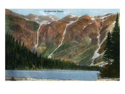 Glacier National Park, Montana, View of Avalanche Basin-Lantern Press-Framed Art Print