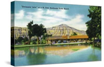 North Dakota, T. Roosevelt National Park View of Badlands Dude Ranch Swimmin' Hole-Lantern Press-Stretched Canvas Print