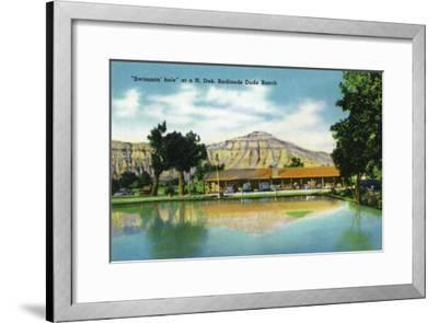 North Dakota, T. Roosevelt National Park View of Badlands Dude Ranch Swimmin' Hole-Lantern Press-Framed Art Print