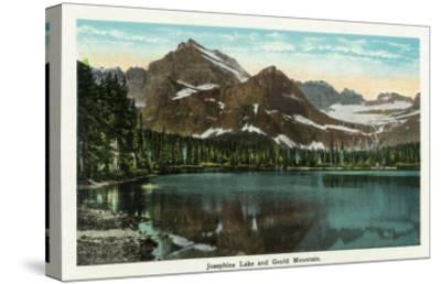 Glacier National Park, Montana, Panoramic View of Josephine Lake and Gould Mountain-Lantern Press-Stretched Canvas Print