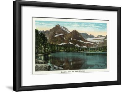 Glacier National Park, Montana, Panoramic View of Josephine Lake and Gould Mountain-Lantern Press-Framed Art Print