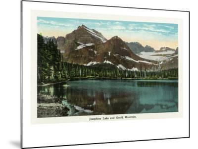 Glacier National Park, Montana, Panoramic View of Josephine Lake and Gould Mountain-Lantern Press-Mounted Art Print