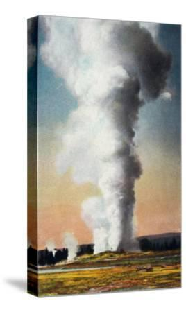 View of Giant Geyser, Yellowstone National Park, Wyoming-Lantern Press-Stretched Canvas Print