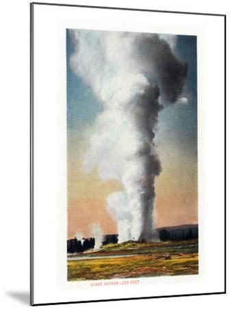 View of Giant Geyser, Yellowstone National Park, Wyoming-Lantern Press-Mounted Art Print