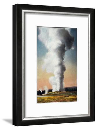 View of Giant Geyser, Yellowstone National Park, Wyoming-Lantern Press-Framed Art Print