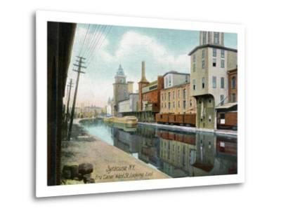 Syracuse, New York, Eastern View down West Street on the Erie Canal-Lantern Press-Metal Print