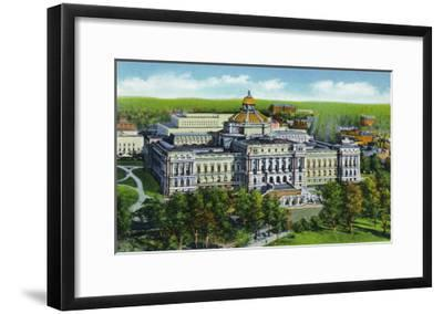 Washington DC, Exterior View of the Library of Congress and Annex Building-Lantern Press-Framed Art Print