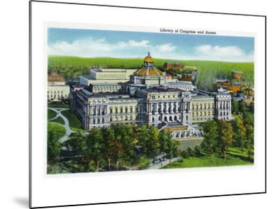 Washington DC, Exterior View of the Library of Congress and Annex Building-Lantern Press-Mounted Art Print