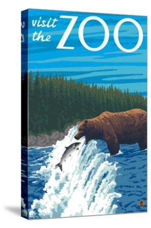 Visit the Zoo, Bear Fishing-Lantern Press-Stretched Canvas Print