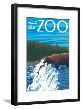Visit the Zoo, Bear Fishing-Lantern Press-Framed Art Print