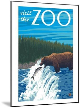 Visit the Zoo, Bear Fishing-Lantern Press-Mounted Art Print