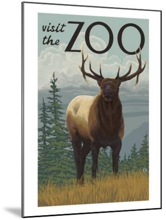 Visit the Zoo, Elk Solo-Lantern Press-Mounted Art Print