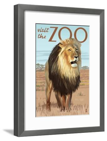 Visit the Zoo, Lion Scene-Lantern Press-Framed Art Print