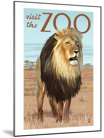 Visit the Zoo, Lion Scene-Lantern Press-Mounted Art Print