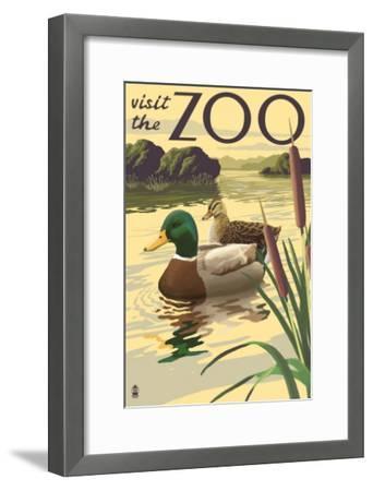 Visit the Zoo, Mallard Ducks Scene-Lantern Press-Framed Art Print