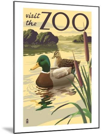 Visit the Zoo, Mallard Ducks Scene-Lantern Press-Mounted Art Print