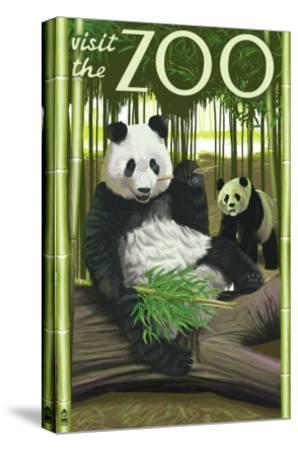 Visit the Zoo, Panda Bear Scene-Lantern Press-Stretched Canvas Print