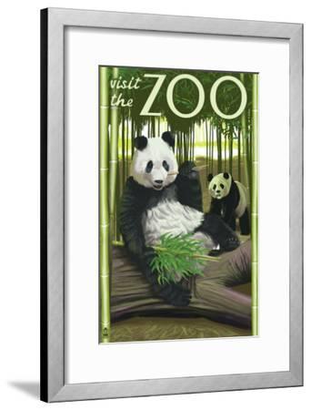 Visit the Zoo, Panda Bear Scene-Lantern Press-Framed Art Print