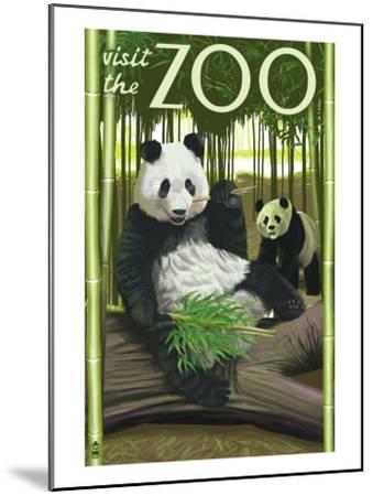 Visit the Zoo, Panda Bear Scene-Lantern Press-Mounted Art Print