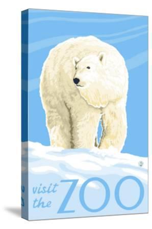 Visit the Zoo, Polar Bear Solo-Lantern Press-Stretched Canvas Print