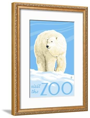Visit the Zoo, Polar Bear Solo-Lantern Press-Framed Art Print