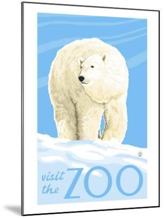 Visit the Zoo, Polar Bear Solo-Lantern Press-Mounted Art Print