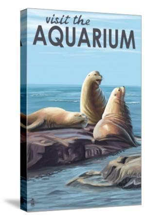 Visit the Aquarium, Sea Lions Scene-Lantern Press-Stretched Canvas Print