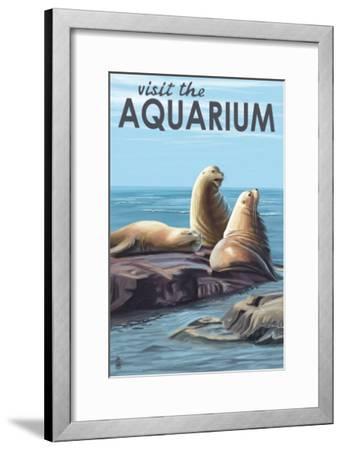 Visit the Aquarium, Sea Lions Scene-Lantern Press-Framed Art Print