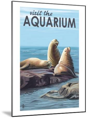 Visit the Aquarium, Sea Lions Scene-Lantern Press-Mounted Art Print